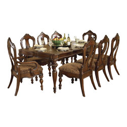 Homelegance - Homelegance Prenzo Rectangular Leg Dining Table in Brown - Homelegance offers the high quality and best value on all their furniture. The Prenzo Rectangular leg table has much more to offer with elegant curves and detailed carvings, and a beautiful brown color. The cherry and ash burl veneers completes this perfect piece. This ornate style is reminiscent of the Tuscan region in Italy and is great to have while hosting a dinner party, or for just a casual dinner with the family.