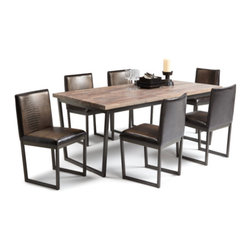 "Sunpan Modern - Porto 7 Piece Dining Set - Features: -Set includes dining table and 6 side chairs. -Porto collection. -Material: Faux leather. -Black powder coated metal base. -Distressed. -Seat height: 19.5"". -Please note that although every attempt has been made to ensure accuracy, all dimensions are approximate and colors may vary. -Please note that the leg color on Sunpan dining chairs does not always match the dining table color. Dimensions: -Table: 30"" H x 71"" W x 37.5"" D. -Chair: 34"" H x 17.5"" W x 21"" D. -Sideboard: 35"" H x 59"" W x 18"" D."