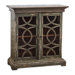 Uttermost - Duran Distressed Console Cabinet - Solid Mahogany Cabinet Finished In Hand Distressed, Glazed Charcoal Over Aged White Undertones.  Clear Glass Doors With Wooden Fretwork Encase A Honey-stained Mahogany Interior With Adjustable Shelf.