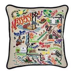 CATSTUDIO - Mississippi State Pillow by Catstudio - Celebrate the states! These pillows from Catstudio's Geography Collection are delightful keepsakes for remembering the hometown you grew up in or commemorating your favorite vacation spot. Embroidered entirely by hand (over 35 hours go into each one!) with black velvet piping, these make the perfect gift for all occasions! Removable cotton cover and polyfill pillow form. Cover is dry clean only.