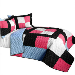 Blancho Bedding - 3 Piece Vermicelli Quilted Patchwork Quilt Set, Full/Queen, Modern Pink - The Modern Pink 100% TC Fabric Quilt Set,  Full/Queen Size,  includes a quilt and two quilted shams. This pretty quilt set is handmade and some quilting may be slightly curved. The pretty handmade quilt set make a stunning and warm gift for you and a loved one! For convenience, all bedding components are machine washable on cold in the gentle cycle and can be dried on low heat and will last for years. Intricate vermicelli quilting provides a rich surface texture. This vermicelli-quilted quilt set will refresh your bedroom decor instantly, create a cozy and inviting atmosphere and is sure to transform the look of your bedroom or guest room.,  Dimensions: Full/Queen quilt: 90.5 inches x 90.5 inches; Standard sham: 24 inches x 33.8 inches,