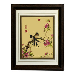 China Furniture and Arts - Cherry Blossoms and Birds Silk Embroidery Frame - Silk embroidery is a Chinese art form with origins dating back millennia. With each piece containing thousands of tiny threads, a composition requires an extremely high level of skill to create. This particular embroidery depicts two birds perched atop a cherry blossom tree. The reflective nature of the silk thread allows the lively colors of the bird's feathers to stand out beautifully in light. Museum quality  framing makes this piece ready to hang and make a statement on any wall it adorns.