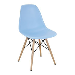 Ariel - Eames Style Molded Light Blue Plastic Dining Shell Chair W/ Wood Eiffel Legs - A truly comfortable chair, the shell dining chair sports a futuristic yet retro look at the same time. Constructed of heavy duty matte finish seats, this stylish chair is perfect for the home office, training room, or play area. Also available in multiple colors.
