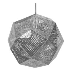 None - Tetra Pendant Light Fixture - Laser etched steel in a complex geometric tetrahedron pattern casts very interesting shadows and also is an eye catcher. The Tetra pendant light fixture features a futuristic chrome finish.