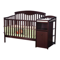 "Delta Children's Products - Shelby 4-in-1 Convertible Crib and Changer - Perfect for any nursery, the Shelby Crib and Changer provides a transitional crib and a changing table all in one to save space while providing everything you need in one unit. Features: -Weight limit: 50 lbs. or 35'' - whichever comes first.-Converts to a toddler bed, daybed and full-size bed (headboard only).-3-position mattress height adjustment.-JPMA certified to meet or exceed safety standards.-Bedding not included.-Crib mattress not included.-Rollable hamper and trundle drawer.-Three position mattress support.-ASTM certified.-Chest has cabinet with one shelf.-Safety bed rails included.-Changing station attached with pad included.-Headboard ccommodates a full-size bed frame (sold separately) from any mattress retailer.-Color: Espresso.-Built from solid wood with a beautiful non-toxic, durable finish.-Shelby collection.-Product Type: Convertible crib.-Design: Traditional.-Style: Traditional.-Collection: Shelby.-Finish: Espresso.-Distressed: No.-Material: Wood.-Hardware Material: Metal.-Number of Items Included: 2.-Solid Wood Construction: Yes.-Reclaimed Wood: No.-Non Toxic: Yes.-Lead-Free: Yes.-Non-allergenic: No.-Water Resistant: No.-Scratch Resistant: No.-Stain Resistant: No.-Fire Resistant: No.-Finished Back: Yes.-Compatible Mattress Size: Standard Crib.-Mattress Included: No.-Under Crib Storage: Yes.-Drop Side Crib: No.-Adjustable Mattress Height: Yes -Number of Mattress Height Settings: 3..-Conversion Set Available: Yes.-Convertible: Yes -Number of Conversions: 4..-Life Stage: Baby, Kid, Teen.-Canopy: No.-Wheels/Castors: No.-Crib Feet: No.-Folding: No.-Rocking: No.-Toddler Safety Rail Available: No.-Changing Table Included: Yes -Movable Changing Table: No.-Changing Pad Included: Yes.-Changing Pad Material: Vinyl..-Hamper Included: Yes -Hamper Material: Wood..-Shelving: Yes -Number of Shelves: 4.-Shelf Material: Wood.-Adjustable Shelves: Yes..-Weight Capacity: 50 lbs.-Commercial Use: No.-Recycled Content: No-Remanufactured/Refurbished: No..-Eco-Friendly: Yes.-Product Care: Wipe clean and dry with a damp cloth.Specifications: -JPMA Certified: Yes.-ASTM Compliant: Yes.-CPSIA or CPSC Compliant: Yes.-Sixteen CFR Compliant: Yes.-General Conformity Certificate: Yes.-ISTA 3A Certified: Yes.Dimensions: -Overall Height - Top to Bottom: 48.25"".-Overall Width - Side to Side: 71"".-Overall Depth - Front to Back: 30"".-Height from Floor to Crib: 7.5"".-Height from Top of Bed to Top of Railing: 26"".-Changing Table: -Changing Table Height - Top to Bottom: 35.5"".-Changing Table Width - Side to Side: 29.5"".-Changing Table Depth - Front to Back: 15.5""..-Changing Pad: -Changing Pad Thickness: 1""..-Mattress: No.-Slatted: -Slat Thickness: 1.5"".-Space Between Slats: 2""..-Drawers: No.-Shelves: Yes.-Overall Product Weight: 112 lbs.Assembly: -Assembly required.-Assembly Required: Yes.-Tools Needed: All tools included.-Additional Parts Required: No."