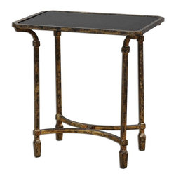 Uttermost - Zion Metal End Table - Artisan-forged iron with cast iron details in heavily tarnished gold leaf, inset with sleek, black tempered glass top.