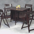 """Linon - Space Saver 5 Piece Dining set - This space-saving folding kitchen table set, made of beechwood and veneer, beautifully mixes convenience and ruggedness. The set is made of 5 pieces: 1 folding table and 4 folding chairs. Not only will this set save space with the folding table, but the 4 chairs can be stowed inside. This set is perfect for dining on the go. Features: -4 Folding chairs stow inside table when not in use.-Beechwood and veneer.-1 Spacesaving folding table.-Hardware Finish: Silver/Gold.-Distressed: No.-Powder Coated Finish: No.-Gloss Finish: No.-Top Material: MDF/Veneer.-Base Material: MDF/Veneer.-Chair Material: Rubberwood.-Solid Wood Construction: No.-Reclaimed Wood: No.-Number of Items Included: Includes Table and 4 Chairs.-Hardware Material: Metal.-Non-Toxic: No.-Scratch Resistant: No.-Leaf Included: No.-Seating Capacity: 4.-Wine Storage: No.-Shelving: No.-Drawers: No.-Stemware Holder: No.-Upholstered Side Chair: No.-Upholstered Arm Chair: No.-Upholstered Bench: No.-Cushioned Chair Seats: No.-Chair Casters: No.-Lighted: No.-Weight Capacity: 250 lbs.-Swatch Available: No.-Commercial Use: No.-Recycled Content: No.-Eco-Friendly: No.Specifications: -ISTA 3A Certified: Yes.Dimensions: -Table: -Overall Table Height - Top to Bottom: 29"""".-Overall Table Width - Side to Side: 58"""".-Overall Table Depth - Front to Back: 36""""..-Side Chair: -Overall Side Chair Height - Top to Bottom: 30.75"""".-Overall Side Chair Width - Side to Side: 14.25"""".-Overall Side Chair Depth - Front to Back: 14"""".-Side Chair Seat Height: 18""""..Assembly: -Assembly Required: Yes.-Tools Needed: Tools Included.-Additional Parts Required: No."""