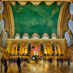 A Central View - A Central View ~ This vertical panorama shows a unique perspective of the main concourse of historic Grand Central Terminal in New York City.  This view shows the entire concourse from north to south and east to west including the beautiful depiction of the night sky painted across the ceiling, and the famous brass clock above the information booth.  Grand Central Terminal, rebuilt in 1913, is celebrating its 100th anniversary in 2013. ©Susan Candelario SDC Photography all rights reserved