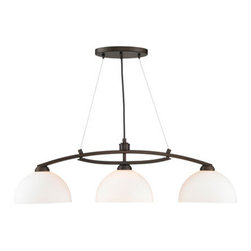 Golden Lighting - Golden Lighting 7158-10-RBZ-OP Accurian 3 Light Island Light, Rubbed Bronze - Modern Transitional style. Bowl shaped Opal glass and modern styling for contemporary home decor. Beautiful warm Rubbed Bronze finish. Moderate pricing makes this collection affordabler. Also available in Pewter. Illuminates a kitchen bar or similar area without interfering with activity at the surface.