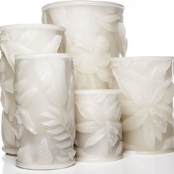 Tropical Flameless Candles - Bring a little sunshine and paradise into your home or office with the decorative Tropical Series that features hibiscus and fern carvings. In keeping with island tradition, each plant impression that embellishes this Series is carefully detailed and trimmed by human hands.