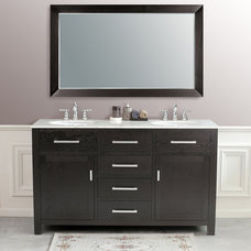"modern bathroom vanities and sink consoles Virtu USA LD-2145 60"" Raffaella Travertine Double Sink Bathroom Vanity Set"
