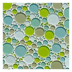 Glass Tile Bubble Blend Mosaic Backsplash, Green Pond - Sold by the box 10 sheets