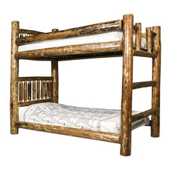 """Montana Woodworks - Montana Woodworks Twin/Twin Bunk Bed in Glacier Country - The log bunk bed by Montana Woodworks is a classic of design and build. Found in bedrooms and bunk houses across America, it is sure to be a popular addition to your home. Skilled craftsmen patiently finish the bed in the """"Glacier Country"""" collection style for a truly unique and one-of-A-kind- look reminiscent of the Grand Lodges of the Rockies, circa 1900. We remove the outer bark while leaving the inner, cambium layer intact for contrast and texture. The finish is completed by an eight step, professional stain and lacquer process. Careful assembly by hand ensures the bed will last a lifetime. Some assembly required. 20-year limited warranty included at no additional charge."""