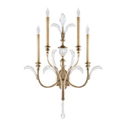 Fine Art Lamps - Beveled Arcs Sconce, 738650ST, by Fine Art Lamps - Let your brilliant self shine. This dramatic four-light sconce will surely dazzle with its warm, muted silver-leaf finish and arcing beveled crystal accents. You already light up a room, and now your fixtures can match.
