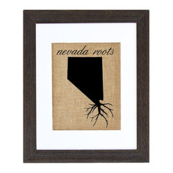 Fiber and Water - Nevada Roots - A great silhouette of the state of Nevada, enhanced with roots for those Nevada natives who are never too far away. This hand-printed piece of art has beautiful texture from a combination of natural burlap and water-based paints. Framed in a wooden, distressed black frame and made in the U.S.A.
