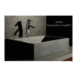 Living'ROC - Gray Granite natural stone Sink + Faucet Hole - ALPHA - Rectangular Natural stone single vessel sink ALPHA - 22'x18'x5' - genuine interior decoration Trendy Gray Granite. The 'Exceptional' cut in the block without any comparison with plastic and other chemical resin market often unaffordable. You will definitely not let anyone feel indifferent with this 100% natural stone unique in the US and exclusively available on Living'ROC.net.  Feel free to click on our facebook portfolio page to inspire yourself with our clients' projects...Simply our living'ROC style. At Living'Roc we have chosen the most beautiful stones. All our basins are made from high quality pure genuine materials that will last for years to come. Granite Basalt Marble are materials perfectly adapted to bathroom use.  Its very convenient slope will add practicality to beauty. All exposed parts of the stone have been waterproofed making the basin ready to use and easy to cleanIf you wish to standardize your project you can choose among a wide range of our Trendy gray  granite shower trays carved from the same material (same color and finish) as it came from the same quarry and most often from the same block of stone: Spacium  Palaos  Quasar or  Dalaos.  This vessel sink is Highly resistant to chipping and scratching withstands hot temperatures tolerant to very high temperature changes. Our creation is delivered without an overflow drain and faucet (not included) - every US drains models you can find on the market will fit perfectly on Living'ROC vessel sink. This model is ready to use over the countertop. The photos you see online have been taken with extreme care by our Founder CEO - Florent LEPVREAU because without them we would not be one of the natural stone business key player of the online European continent. Once you have encountered the product in your home you will always have pure happiness for the love of the materials. It will be beyond your expectations because what you see onl