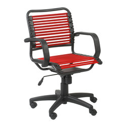 Eurostyle - Bungie Flat Mid Back Office Chair-Red/Graphite Black - Extra strong flat bungie cords