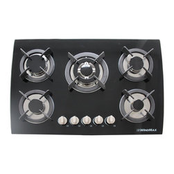 "WindMax - 30"" CookTop Black Tempered Glass Built-in Kitchen 5 Burner Gas Hob Cook Top - Gas Type: LPG/NG (Default LPG gas, If you want to connect with NG gas, please remove the LPG gas kit.))"
