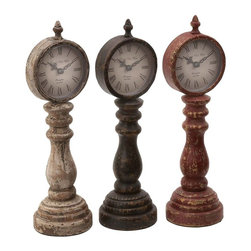 Benzara - Table Clock Assorted with Antique Charm Look - Set of 3 - Decorate your table or desk with these clocks that have been given an endearing antique touch. This assorted set of 3 wooden table clocks will transport you to a bygone era. These clocks have been given an antique touch that adds to their charm. Easy to read, the clocks have simple and prominent Roman numerals, along with a minute and hour hand each. Available in 3 attractive shades of light brown, cherry red and mahogany, this set makes for a great gift idea too. Each of these pieces is endowed with a refined and classic touch that is reflected in your decor. The flat base lends the clocks with a better balance. The clock is perched on a wooden column enabling you to see it even on a cluttered desk top. This set is a perfect fusion style and utility. You can use it for adorning your home or office.