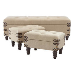 Home Decorators Collection - Burlap Benches, Set of 3 - I really like the detail on the corners of these benches.