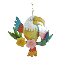 Zeckos - Red Drinking Parrot Colorful Glittery Finish Metal Wall Hanging - Add a fun tropical accent to your porch, patio, pool or tiki bar with this brightly colored parrot wall hanging This wall hanging features a red and blue parrot perched on a branch of hibiscus flowers while sipping from a tropical drink. This 13.5 inch high, 15 inch wide, 1 inch deep (34 x 38 x 3 cm) metal parrot sculpture boasts a hand-painted enamel finish with glittery accents and a twisted rope hanger that makes mounting to any wall easy Enjoy this parrot wall hanging anywhere inside your home, too, and it's great as a housewarming gift sure to be enjoyed