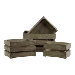 Urban Trends Collection - Urban Trends White Antique Wooden Storage Box (Set of 4) - Add some fun antique accents to your living space with these wood storage boxes. These boxes come in multiple sizes and feature an antique finish to give these decorative pieces some texture.