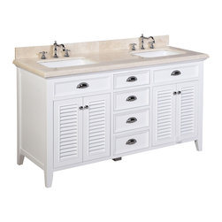 Kitchen Bath Collection - Savannah 60-in Double Sink Bath Vanity (Crema Marfil/White) - This bathroom vanity set by Kitchen Bath Collection includes a white cabinet with soft close drawers, stunning Crema Marfil marble countertop with double-thick beveled edges, self-closing doors, double undermount ceramic sinks, pop-up drains, and P-traps. Order now and we will include the pictured three-hole faucets and a matching backsplash as a free gift! All vanities come fully assembled by the manufacturer, with countertop & sink pre-installed.
