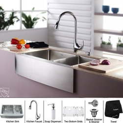 Kraus - 33 in. Farmhouse 60/40 Double Sink and Faucet with Soap Dispenser - Add an elegant touch to your kitchen with unique Kraus kitchen combo