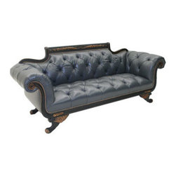 """Old Hickory Tannery - Old Hickory Tannery """"Cordoba"""" Leather Sofa - From its button-tufted interior to its rolled arms, ornately decorated frame, and wonderfully whimsical feet, this Duncan-style sofa flaunts its must-have style. Nailhead trim adds the perfect finishing touch. European beechwood frame with English blac..."""