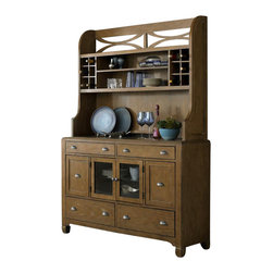 Liberty - Liberty Town Country Buffet With Hutch in Sandstone - This six drawer buffet and dining hutch will bring beautiful craftsmanship and copious amounts of storage space to any transitional home setting. Six drawers, two glass doors with two adjustable shelves, and the hutch top provide plenty of space to store your china and up to 16 bottles of your choice. The top drawers are felt-lined and the middle two drawers are tall in order to store bottles upright. The straight line design of the piece, along with accentuating antique pewter cup pull handles, are all elements that showcase the updated style of the piece. Crafted from white oak cathedral veneers and rubber wood solids with a distressed sandstone finish, this six drawer buffet and dining hutch will be a brilliant piece in any home.