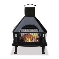 Blue Rhino - Uniflame 45in High Outdoor Firehouse Black - Uniflame WAF1013C Black Firehouse with Chimney... This well constructed and highly functional firehouse brings the warmth and comfort of a fireplace to any patio deck or poolside. The safety and versatility of this fully grate enclosed allows fires to burn away with peace of mind in virtually any application. Constructed from cast iron featuring a large chimney that controls exhaust. Firehouse also features a side-out cooking grill and simple assembly that make this a must have for any home.