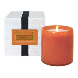 Cilantro Orange / Kitchen Candle - Vivacious and inspiring, the juicy mandarin, zesty cilantro, and cool watercress notes that blend into the bold olfactory statement of the Cilantro Orange Kitchen Candle bring energy and vitality to your home. Contained in an oversized transitional glass jar with a strikingly on-trend orange hue, this soy candle can be lit whenever your space needs a dose of luscious botanical life.