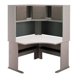 "Bush - Bush Series A 48"" Corner Computer Desk with Hutch in Pewter - Bush - Office Sets - WC14566PKG4 - Bush Series A Wood Corner Hutch in White Spectrum and Pewter (included quantity: 1) The Bush Series A Corner Hutch is a grand addition to the Bush Series A Corner Desk. Turning your workspace into a private tower of efficiency, this generous corner hutch features a wide variety of storage styles to suit your needs.  Features:"