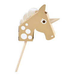 flatout frankie - Little Unicorn Head Cardboard Toy - Your little one will have hours of fun assembling, decorating and playing with this magical creature. Depending on their mood, watch them slide down rainbows with a unicorn or remove the horn to gallop on a stallion.