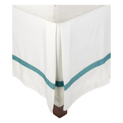 "Hotel Collection 300 Thread Count Cotton White/Turquoise Twin Bed Skirt - A hotel luxury way to decorate your bedroom with a 300 Thread Count Bed Skirt. The perfect complement to a guest bedroom or master suite! These 300 thread count bed skirts of premium long-staple cotton are ""sateen"" because they are woven to display a lustrous sheen that resembles satin. Coordinate with our Hotel Collection Duvet Cover Sets and Bed-skirts! Dimensions: 38x75."