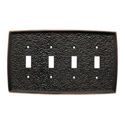 Liberty Hardware - Liberty Hardware 144033 Hammered WP Collection 8.82 Inch Switch Plate - Bronze W - A simple change can make a huge impact on the look and feel of any room. Change out your old wall plates and give any room a brand new feel. Experience the look of a quality Liberty Hardware wall plate.. Width - 8.82 Inch,Height - 4.96 Inch,Projection - 0.28 Inch,Finish - Bronze W/Copper Highlights,Weight - 1.18 Lbs