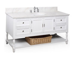 Kitchen Bath Collection - Beverly 60-in Single Sink Bath Vanity (White/White) - This bathroom vanity set by Kitchen Bath Collection includes a white cabinet with soft close drawers, white marble countertop, single undermount ceramic sink, pop-up drain, and P-trap. Order now and we will include the pictured three-hole faucet and a matching backsplash as a free gift! All vanities come fully assembled by the manufacturer, with countertop & sink pre-installed.