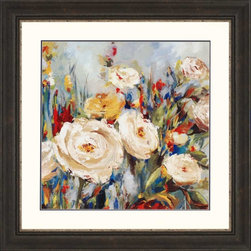 """Paragon Decor - Calico Fields Artwork - Brighten up those boring walls with this pretty piece, """"Calico Fields."""" The piece features a soft abstract depiction of a cluster of flowers composed of bright crimson reds, deep royal blues, and vivid mustard yellows contrasting with a gray and blue background. It is surrounded by a white matte and placed in an antiqued black frame. This piece measures 38 inches wide, 1 inch deep, and 38 inches high."""