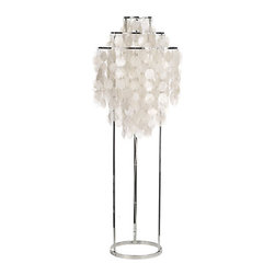Fun 1 Floor Lamp - This gorgeous lamp reminds me of a mobile. I would not put this baby in the corner; it's a statement piece that needs to be shown off.