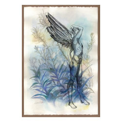 """Winged Figure Vi Original Mixed Media Painting, Original, Painting - Angels in the early morning may be seen the dews among - fm emily dickenson this is a large signed original mixed media painting by washington state artist kathleen ney. the paper size is a 15"""" x 22"""" heavy canson edition archival paper with 2 deckled edges. on a gorgeous 100% cotton, acid free paper, this drawing would be wonderful float mounted and framed. will be shipped carefully packed & insured, in a rigid cardboard tube. adjustments to shipping price may be made to accommodate actual location and fees. please note: colors may vary slightly due to photography and difference in monitors. the copyright watermark shown here is not a part of the original art or prints. purchase of original art does not transfer reproduction rights. shipping price is an estimate and may vary depending on location. please contact me for shipping costs of international and multiple items."""