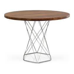 Kathy Kuo Home - Stockholm Industrial Modern Solid Wood Round Dining Bistro Table - An open pedestal creates an airy silhouette as the base of this modern, Industrial Loft dining table. The polished stainless steel round framework supports a larger, circular plantation hardwood tabletop. Rich, antique brown contrasts with the silver, creating an unexpectedly powerful color palette.