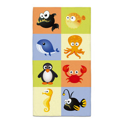 """Eco Friendly """"Beach Animals"""" Bath Hand Towel - Hand Towels are made of a super soft poly fiber fabric with 2mm pile."""
