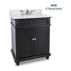 "Hardware Resources - Elements Douglas Vanity w Preassembled White Marble Top and Bowl, Painted Black - This 30"" wide MDF vanity features a sleek black finish clean lines and tapered feet to give a modern feel. A perfect alternative to a pedestal sinks. A large cabinet provides storage. This vanity has a 2CM white marble top preassembled with an H8809WH (15"" x 12"") bowl cut for 8"" faucet spread and corresponding 2CM x 4"" tall backsplash."