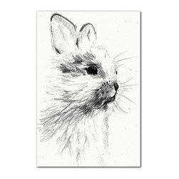 IScreenYouScreen - Black & White Bunny Print - Featuring a stark black & white sketch-styled animal design, this hand-signed canvas enhances your home décor with ease.   24'' W x 36'' H Archival watercolor paper / archival ink Made in the USA