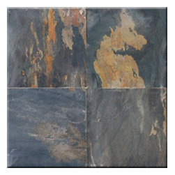 "Black Rust Cleft Finish Slate Floor & Wall Tiles 16"" x 16"" - 16"" x 16"" Black Rust Cleft Finish Slate Floor and Wall Tile is a beautiful tile to install on a wall, floor or kitchen countertop in your home. The tile is frost resistant, so it ft.s a great option for outdoor installations. It is marginally skid resistant and recommended for standard residential applications. The rustic-style tile is made of natural slate stone, and it features a textured, low-sheen surface."