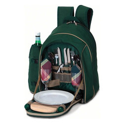 "Picnic Plus - Endeavor 2 Person Picnic Backpack, Green - Picnic Plus Endeavor 2 Person Picnic Backpack, Green. Color/Design: Green; Large insulated food compartment; Insulated, zippered, detachable 2 liter wine/beverage carrier; Heavy duty 600D polyester exterior shell; Two soft padded shoulder straps; With a complete set of 2: plates, acrylic goblets, cotton napkins, stainless steel flatware, bottle opener waiters tool, salt/pepper shakers, wooden cutting board and cheese knife. Dimensions: 20""W x 9""D x 17""H"
