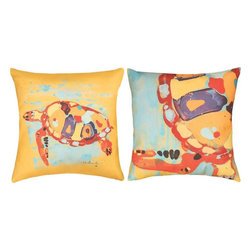 Manual - Sea Turtle Bay Warm Colors Indoor/Outdoor Reversible Pillow 18 x 18 - This 18 inch beach themed throw pillow adds a wonderful accent inside your home, or outdoors on your porch or patio. The Climaweave fabric is durable, fade and moisture resistant, and is sure to look and feel great for years, wherever you display it. The front of the pillow features a colorful watercolor style sea turtle, swimming through the ocean. The back of the pillow features a close up view of the turtle in the same colors, and has a more abstract look. It is made of 100% polyester, from the cover to the soft stuffing, and is proudly made in the USA. This pillow is perfect on chairs, couches, and beds in your home or on your boat- buy a pair and display one on each side for a matching set