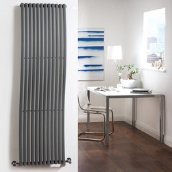 Hudson Reed - New Anthracite Vertical Designer Wave Radiator Heater 63 x 18 & Valves - With an impressive heat output of 1,120 Watts (3,819 BTUs), this designer wave radiator, in a fashionable anthracite finish, is eye-catching, stylish and highly efficient, ensuring that your room is heated quickly.While the smooth, curving lines of this vertical designer radiator bring a touch of elegance to any living space, the anthracite radiator is highly functional, connecting directly into your domestic central heating system via Hudson Reed radiator valves included.Anthracite Designer Wave Radiator 63 x 18 Details  Dimensions: (H x W x D) 63 (1600mm) x 18 (460mm) x 4.3 (110mm) Output: 1,120 Watts (3,819 BTUs) Pipe centres with valves: 21.65 (550mm) Number of columns: 12 Designed to be plumbed into your central heating system Suitable for bathroom, cloakroom, kitchen etc. Please note: Angled radiator valves included  Buy now, to transform your living space, at an affordable price.5 year guarantee Please Note: Our radiators are designed for forced circulation closed loop systems only. They are not compatible with open loop, gravity hot water or steam systems.