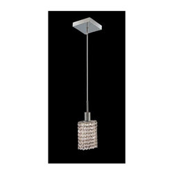 Elegant Lighting - Mini Clear Crystal Pendant w 1 Light in Chrome (Strass Swarovski) - Choose Crystal: Strass Swarovski. 3 ft. Chain/Wire Included. Bulbs not included. Crystal Color: Crystal (Clear). Chrome finish. Number of Bulbs: 1. Bulb Type: GU10. Bulb Wattage: 55. Max Wattage: 55. Voltage: 110V-125V. Assembly required. Meets UL & ULC Standards: Yes. 4.5 in. D x 8 to 48 in. H (3lbs.)Description of Crystal trim:Royal Cut, a combination of high quality lead free machine cut and machine polished crystals & full-lead machined-cut crystals..SPECTRA Swarovski, this breed of crystal offers maximum optical quality and radiance. Machined cut and polished, a Swarovski technician¢s strict production demands are applied to this lead free, high quality crystal.Strass Swarovski is an exercise in technical perfection, Swarovski ELEMENTS crystal meets all standards of perfection. It is original, flawless and brilliant, possessing lead oxide in excess of 39%. Made in Austria, each facet is perfectly cut and polished by machine to maintain optical purity and consistency. An invisible coating is applied at the end of the process to make the crystal easier to clean. While available in clear it can be specially ordered in a variety of colors.Not all trims are available on all models.