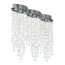 """PLC Lighting - Drizzle 9 Light Island Fixture In Polished Chrome - This 9 Light Ceiling Light from the Drizzle Collection is a modern classic which will draw admiring glances from every corner of the room. 36"""" in height, 50"""" wide and 10"""" in length. With the expertly asfour handcut crystal glass this represents a rain fall in overall appearance, with a polished chrome finish this ceiling light is stunning."""